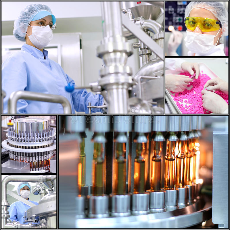 Pharmaceutical Manufacturing Technology- Collage stock photo