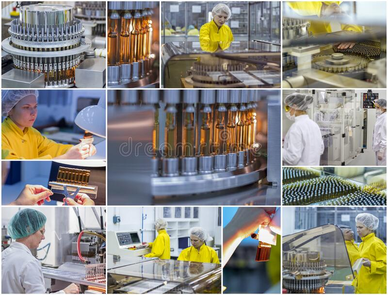 Pharmaceutical and Medicine Manufacturing - Pharmaceutical Workers - Collage Photo stock photos