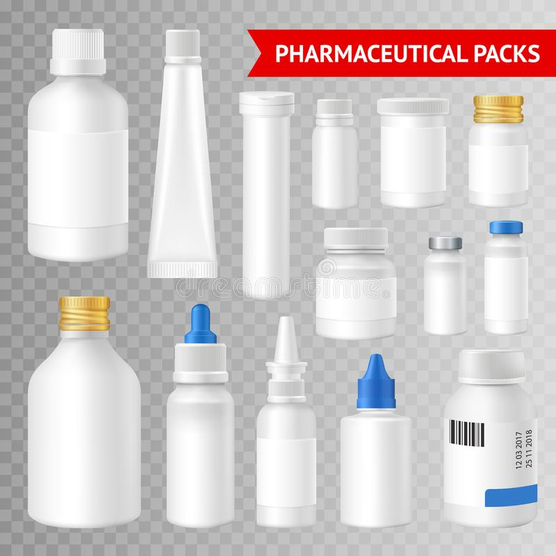 Pharmaceutical Packaging Realistic Transparent Background Set royalty free illustration