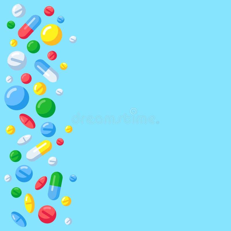 Pharmaceutical pills background. Medicine drugs in capsules. Medical tablets on prescription for treatment vector vector illustration