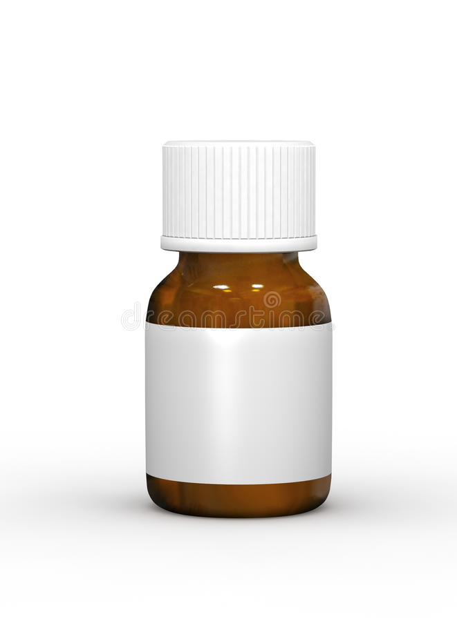 Pharmaceutical product bottle. With white background stock illustration