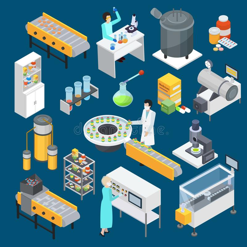 Pharmaceutical Production Isometric Icons Collection vector illustration