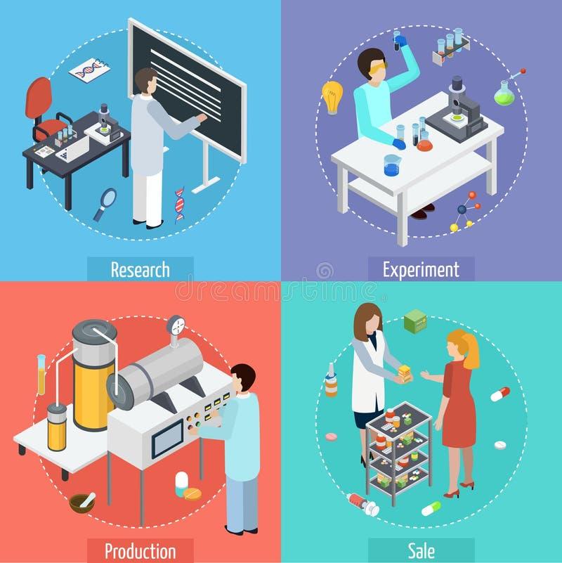 Pharmaceutical Production 4 Isometric Icons vector illustration