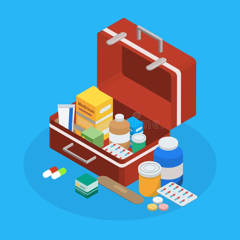 Pharmaceutical Production Suitcase Isometric Background stock illustration