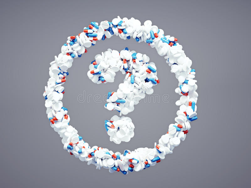 Pharmaceutical question mark. 3d pharmaceutical question mark with included clipping path royalty free illustration