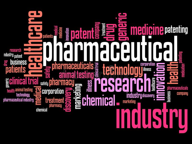 Pharmaceutical research. Pharmaceutical industry and medicine word cloud illustration. Word collage concept vector illustration
