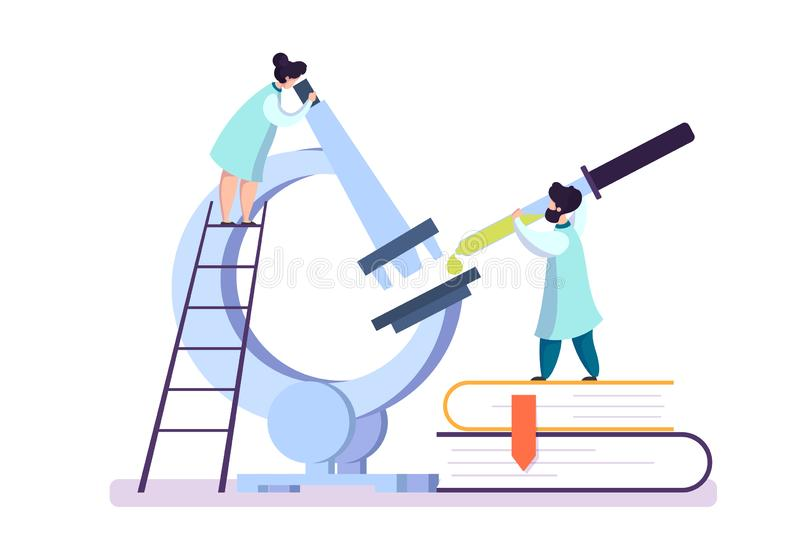 Pharmaceutical research. Scientist making the clinical test vector illustration