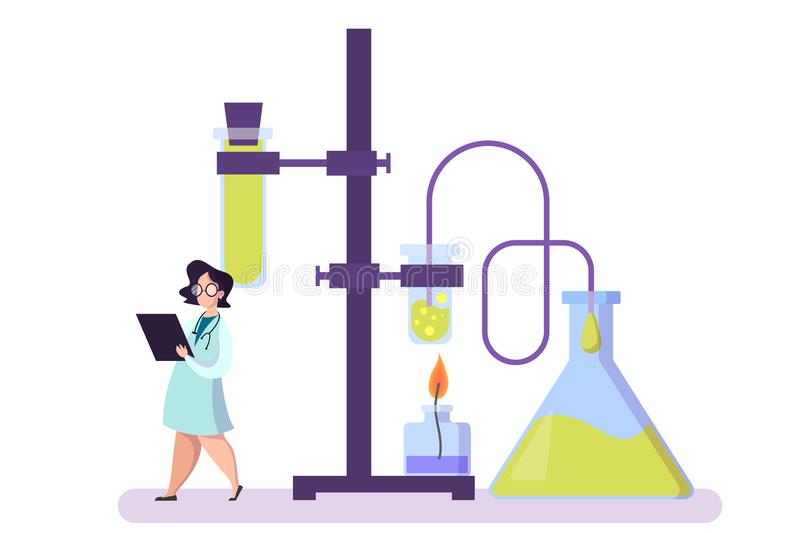 Pharmaceutical research. Scientist making the clinical test royalty free illustration