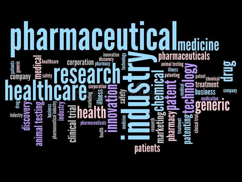 Pharmaceutical word cloud. Pharmaceutical industry and medicine word cloud illustration. Word collage concept royalty free illustration