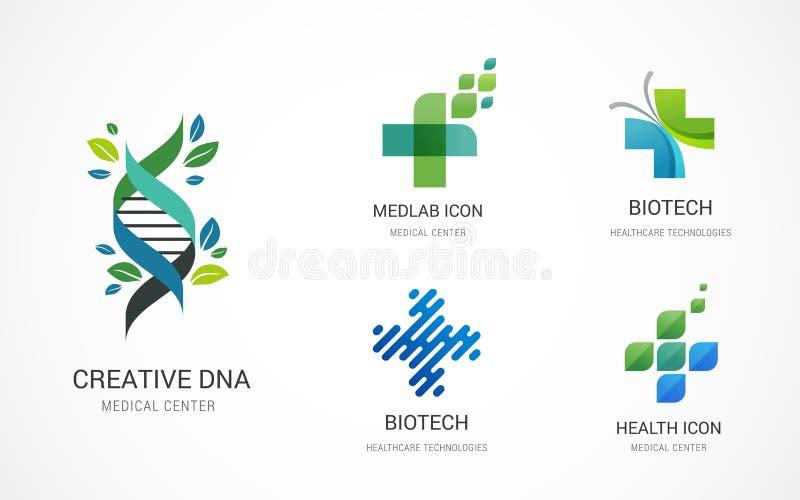 Pharmaceutique, médical, soins de santé et icônes de pharmacie, logos - vecteur courant illustration stock