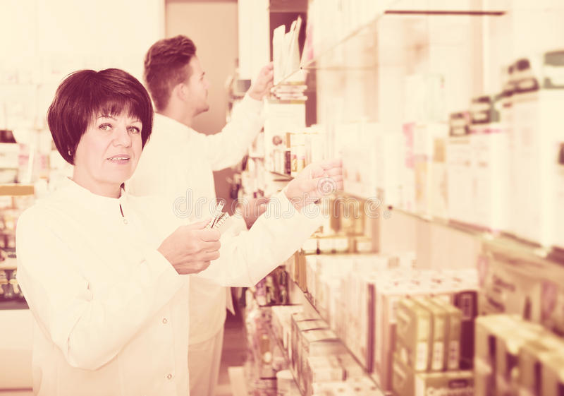 Download Pharmaceutist Working In Chemist Shop Stock Photo - Image: 83701952