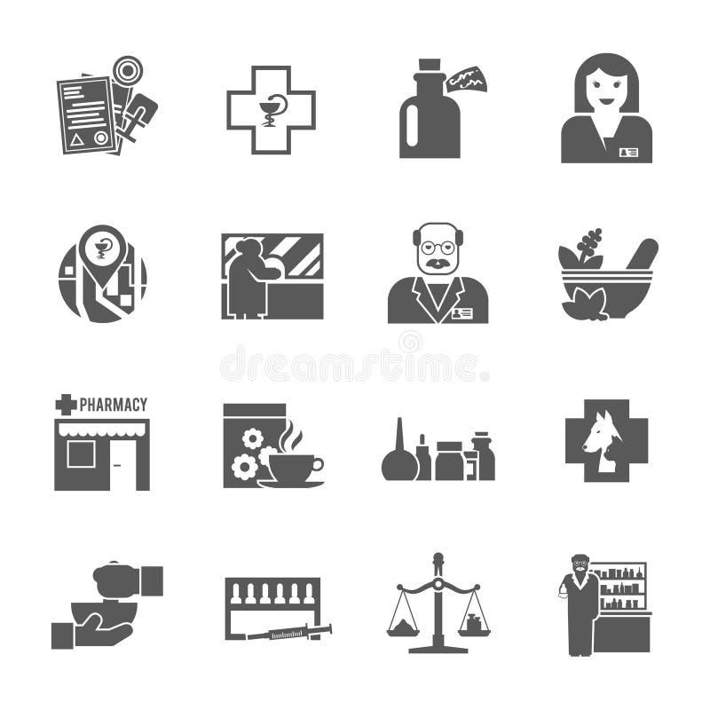 Pharmacicst czerni ikony ustawiać ilustracji