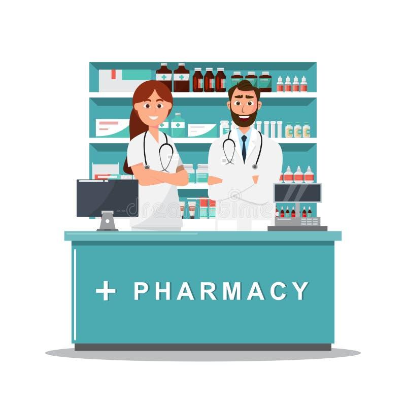 Pharmacie avec le m?decin et l'infirmi?re dans le compteur photographie stock
