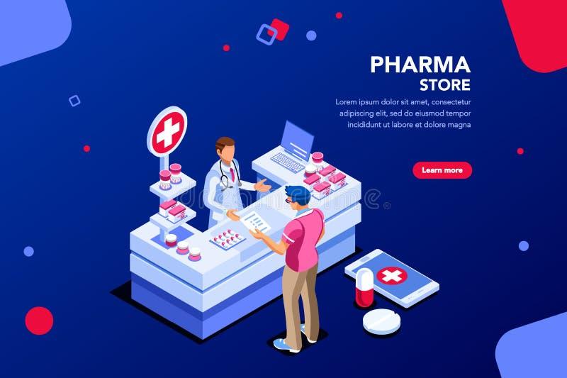 Pharmacie avec le patient et le pharmacien illustration libre de droits