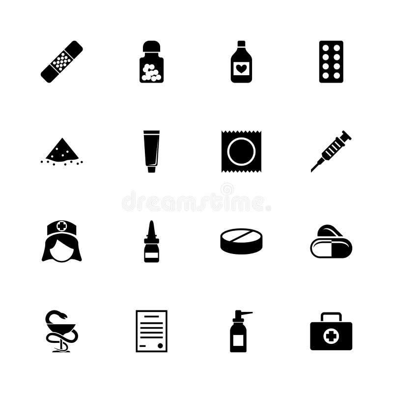 Pharmacie - icônes plates de vecteur illustration libre de droits