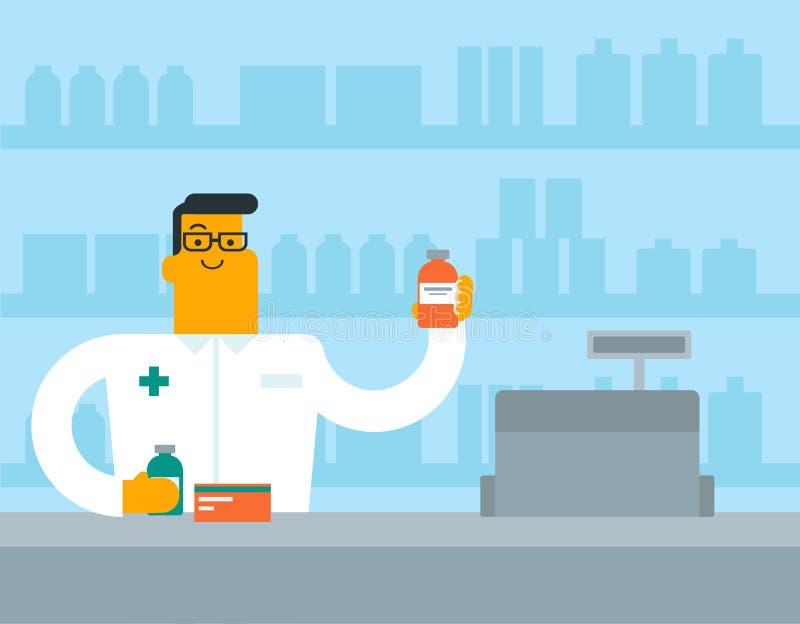 Pharmacien blanc caucasien montrant une certaine médecine illustration de vecteur