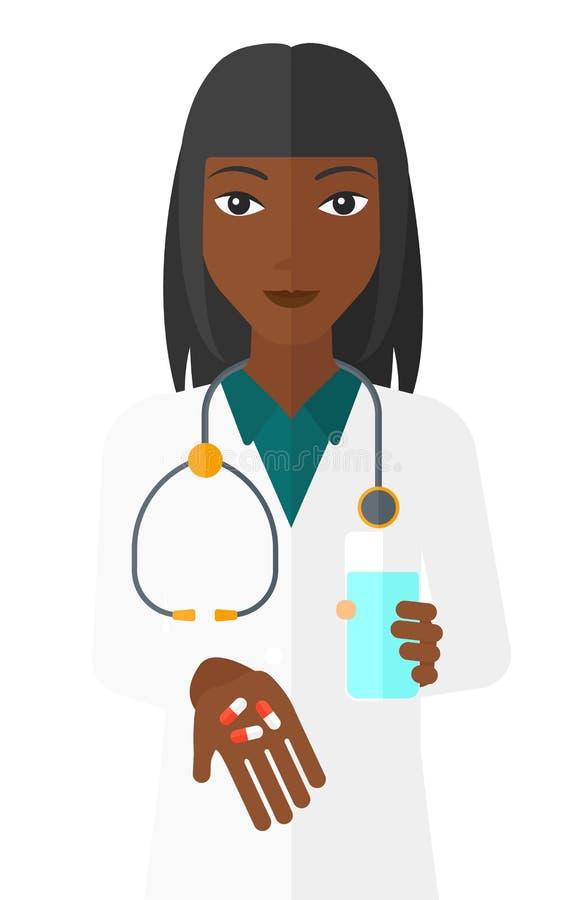 Pharmacien donnant des pilules illustration libre de droits