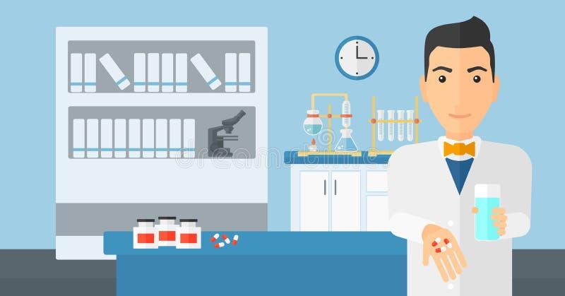 Pharmacien donnant des pilules illustration stock