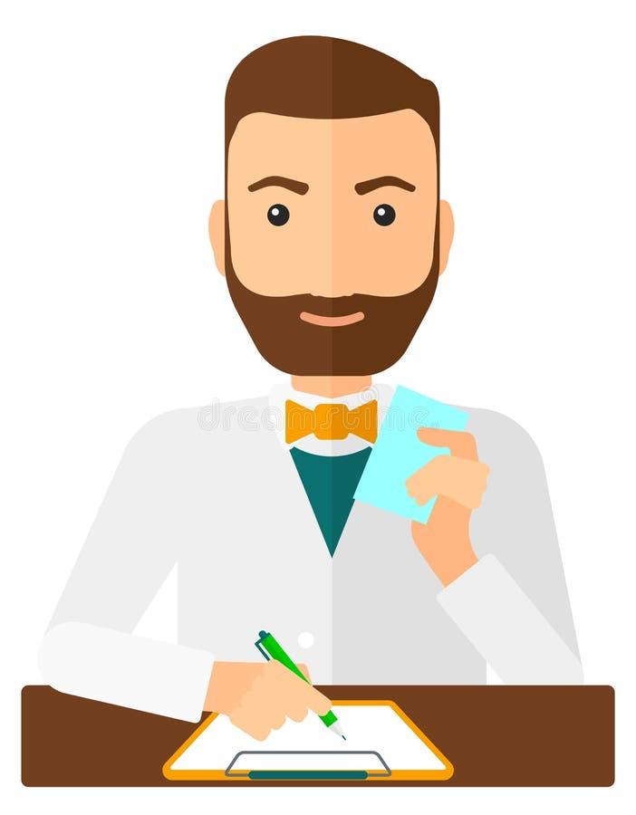 Pharmacien prenant des notes illustration stock