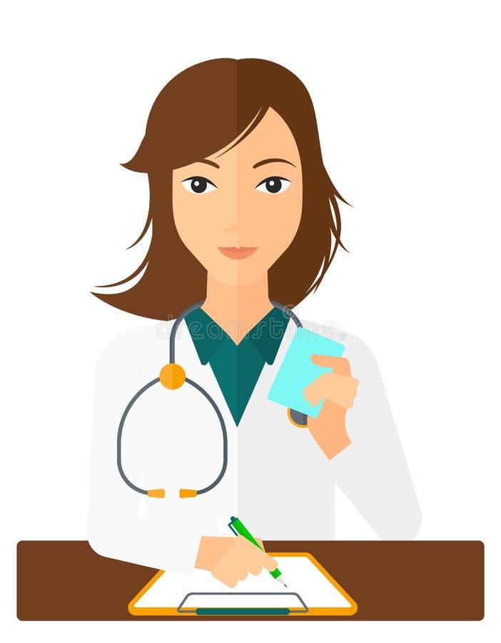 Pharmacien prenant des notes illustration libre de droits