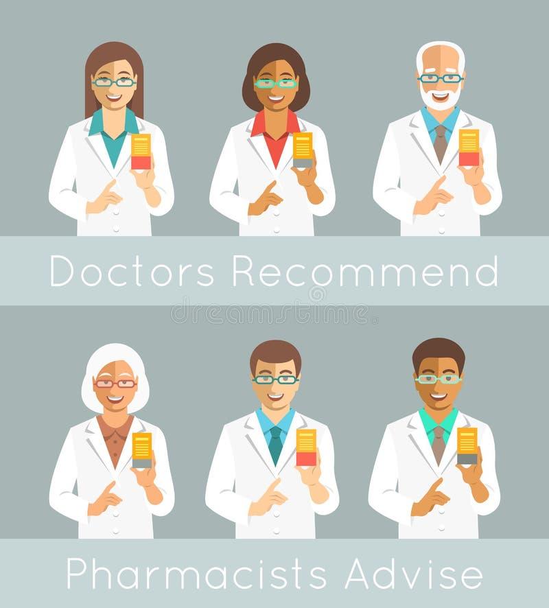 Pharmaciens tenant une boîte avec la médecine illustration libre de droits