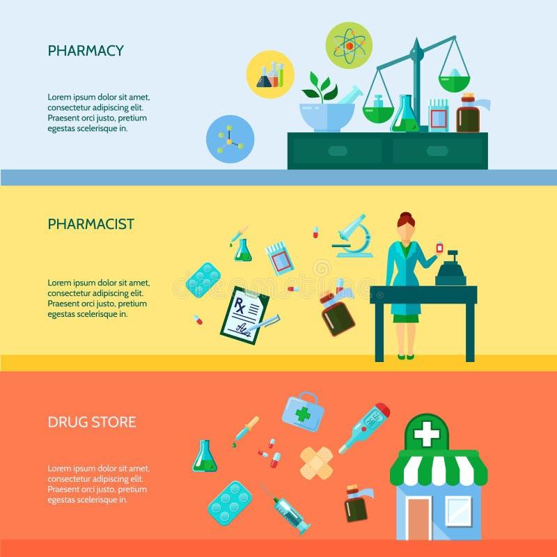 Pharmacist Banner Set stock illustration