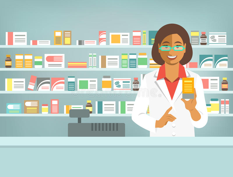 Pharmacist black woman with medicine at counter in pharmacy. Pharmacist at counter in pharmacy. Black woman druggist stands opposite shelves with medicines and vector illustration