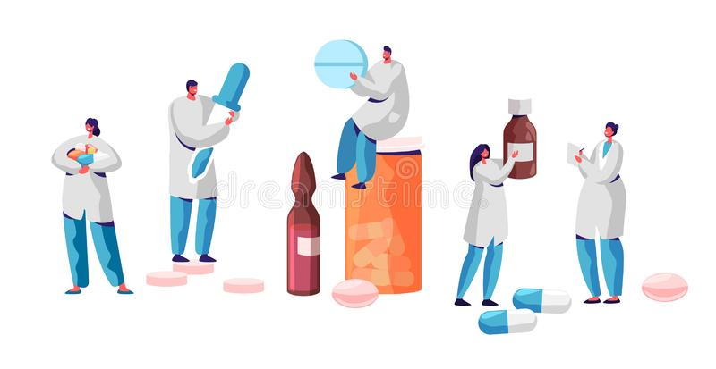 Pharmacist Character Medicine Drug Store Set. Pharmacy Business Industry Professional People. Online Health Care. Infographic Background. Pill and Bottle vector illustration