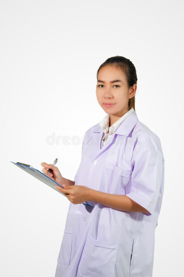 pharmacist chemist and medical doctor woman asian with stethoscope and clipboard checking stock photography