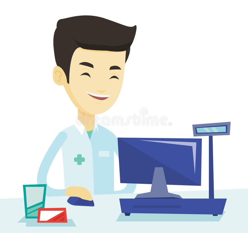 pharmacist at counter with cash box stock vector illustration of rh dreamstime com