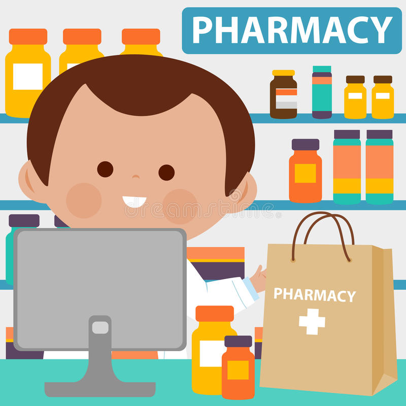 Pharmacist at the counter with shopping bag full of medicine stock illustration