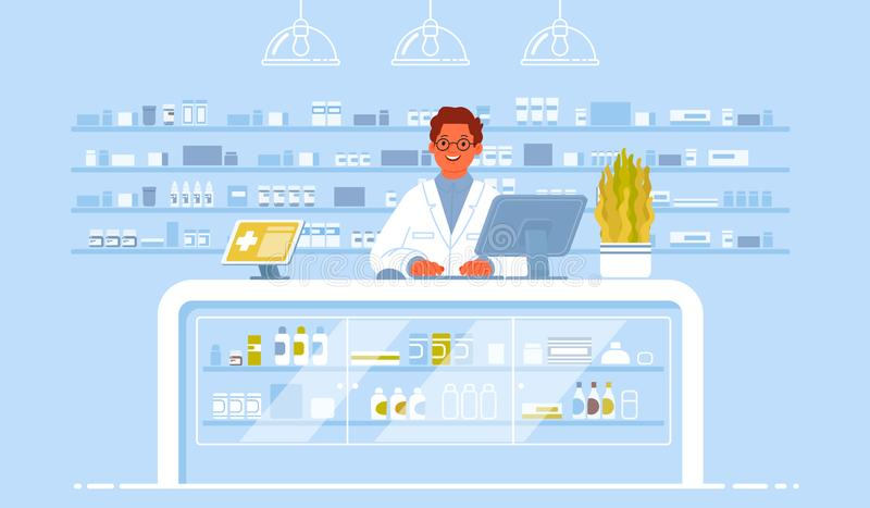Pharmacist doctor on the background of the interior pharmacy. Pharmacology. Sale of drugs in the drugstore. Vector illustration in flat style vector illustration