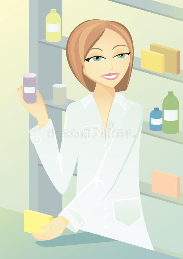 Pharmacist giving advice about medicines stock illustration