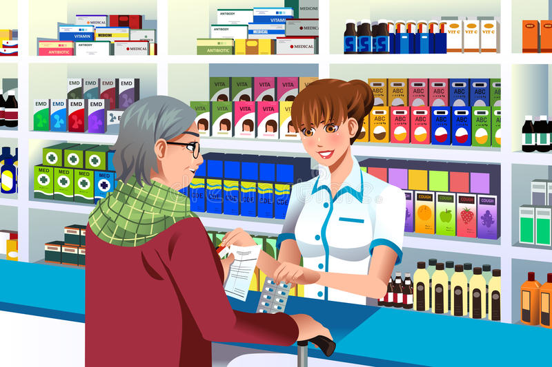 Pharmacist helping an elderly person royalty free illustration