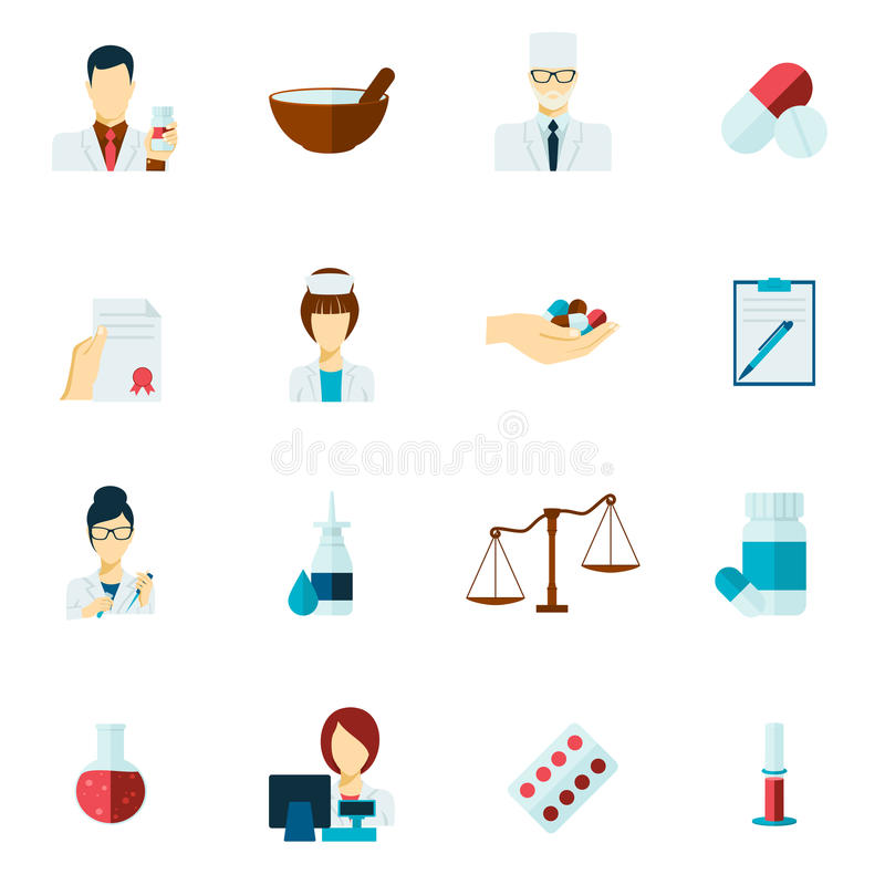 Pharmacist icon flat set vector illustration