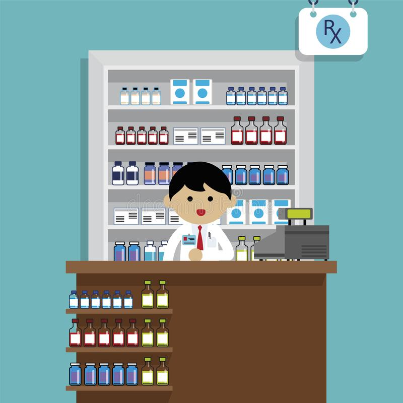 Pharmacist at the pharmacy stock illustration