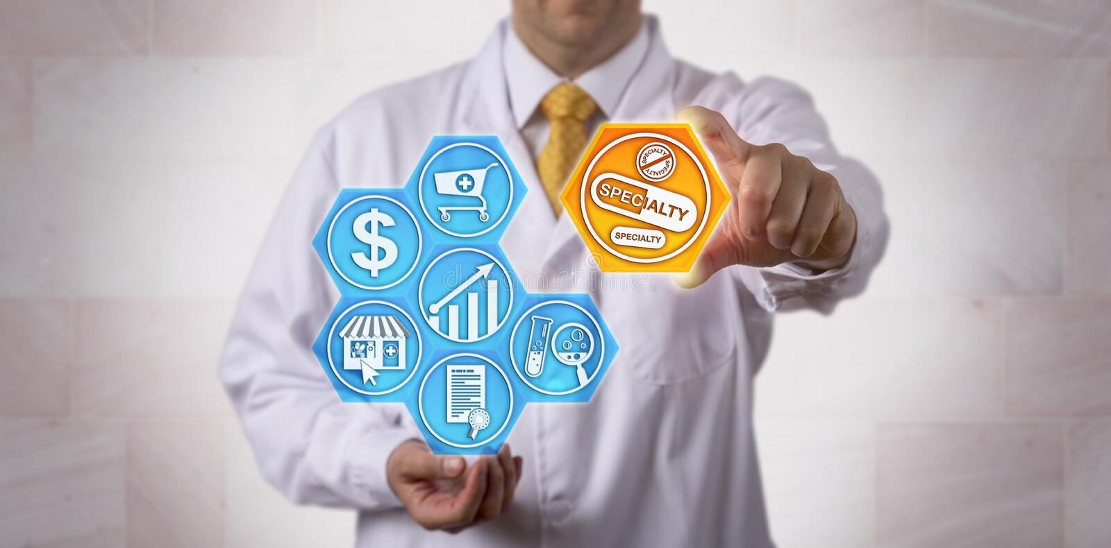 Pharmacist Presenting Specialty Drugs Online. Unrecognizable pharmacist is presenting specialty drugs to the online pharmacy marketplace. Pharmaceutical and stock image