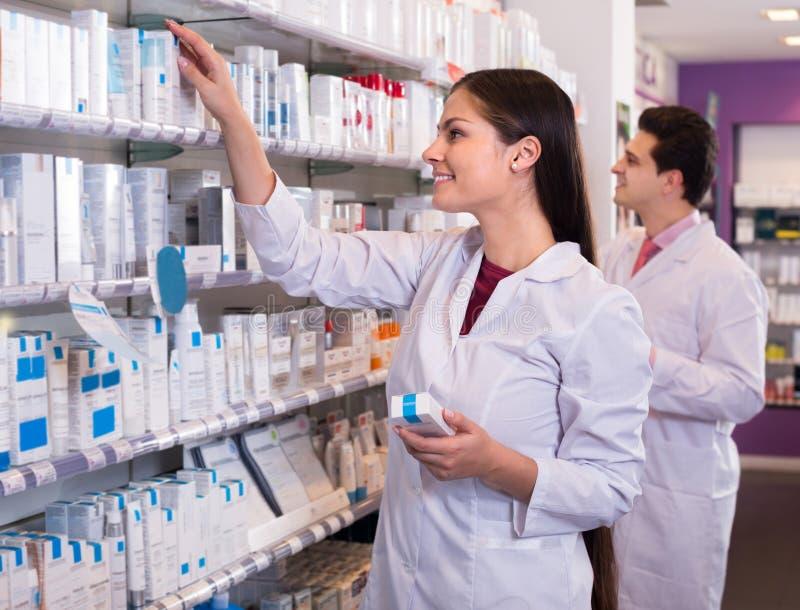 Pharmacists Posing In Drugstore Stock Photo Image 69544066