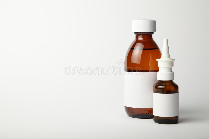 Pharmacological medicines for cold and flu virus. Antibiotics, drops spray in the nose.  royalty free stock photo