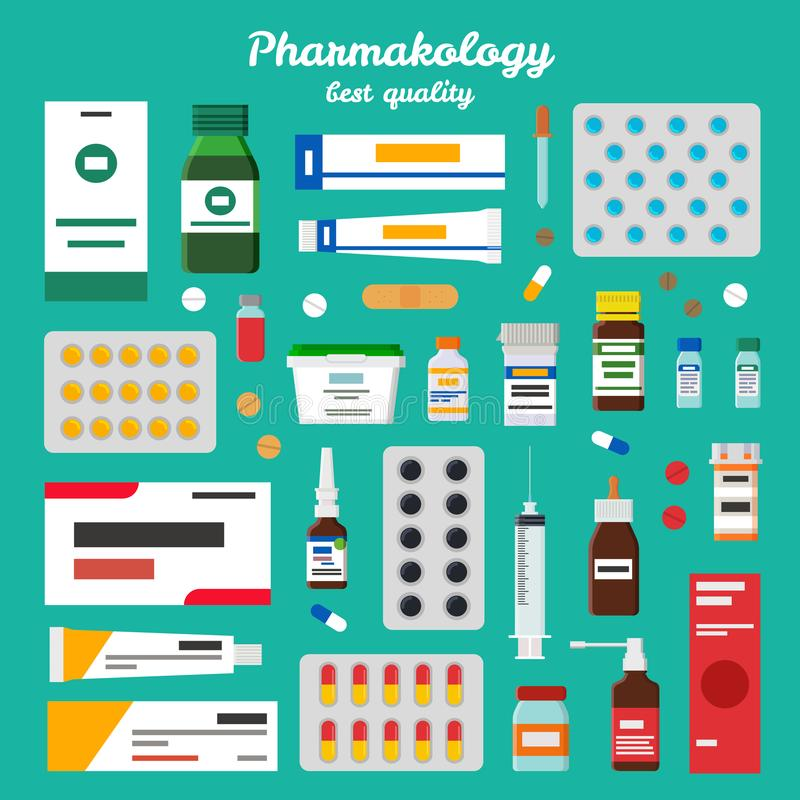Pharmacology Best Quality Vector Illustration. Pharmacology best quality representing icons of pills, ointments and inhalers, syringes and syrups vector royalty free illustration
