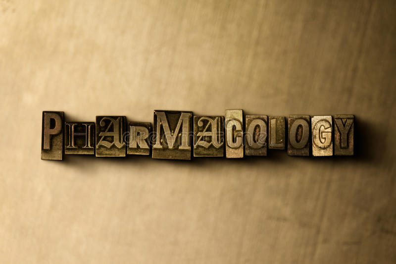PHARMACOLOGY - close-up of grungy vintage typeset word on metal backdrop. Royalty free stock illustration. Can be used for online banner ads and direct mail vector illustration