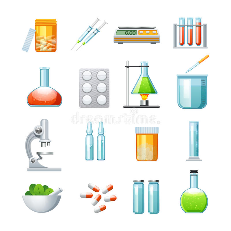 Pharmacology Flat Icons Collection. With microscope pills tablets and mixture medications microscope abstract isolated vector illustration vector illustration