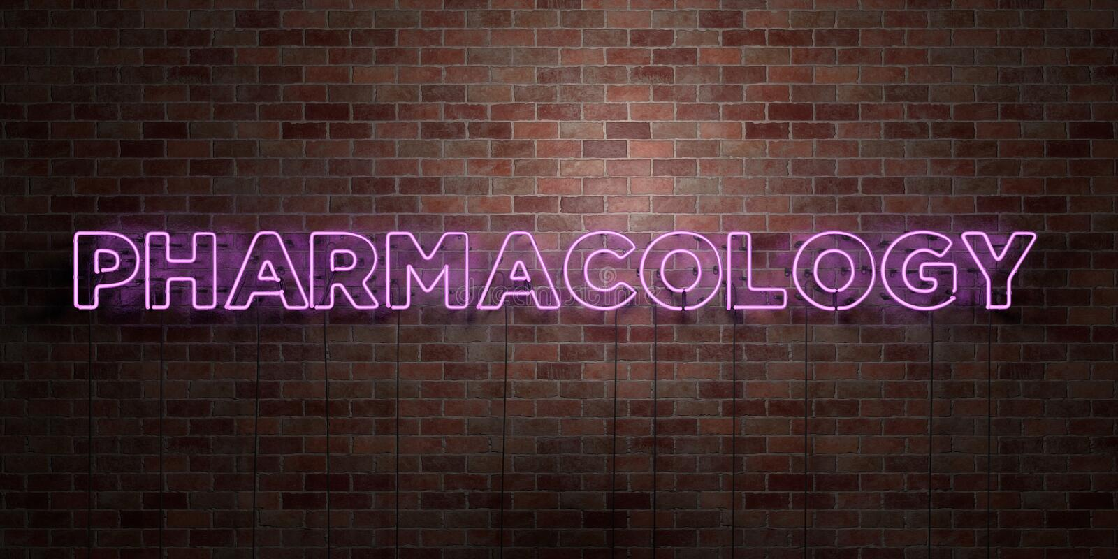 PHARMACOLOGY - fluorescent Neon tube Sign on brickwork - Front view - 3D rendered royalty free stock picture. Can be used for online banner ads and direct vector illustration