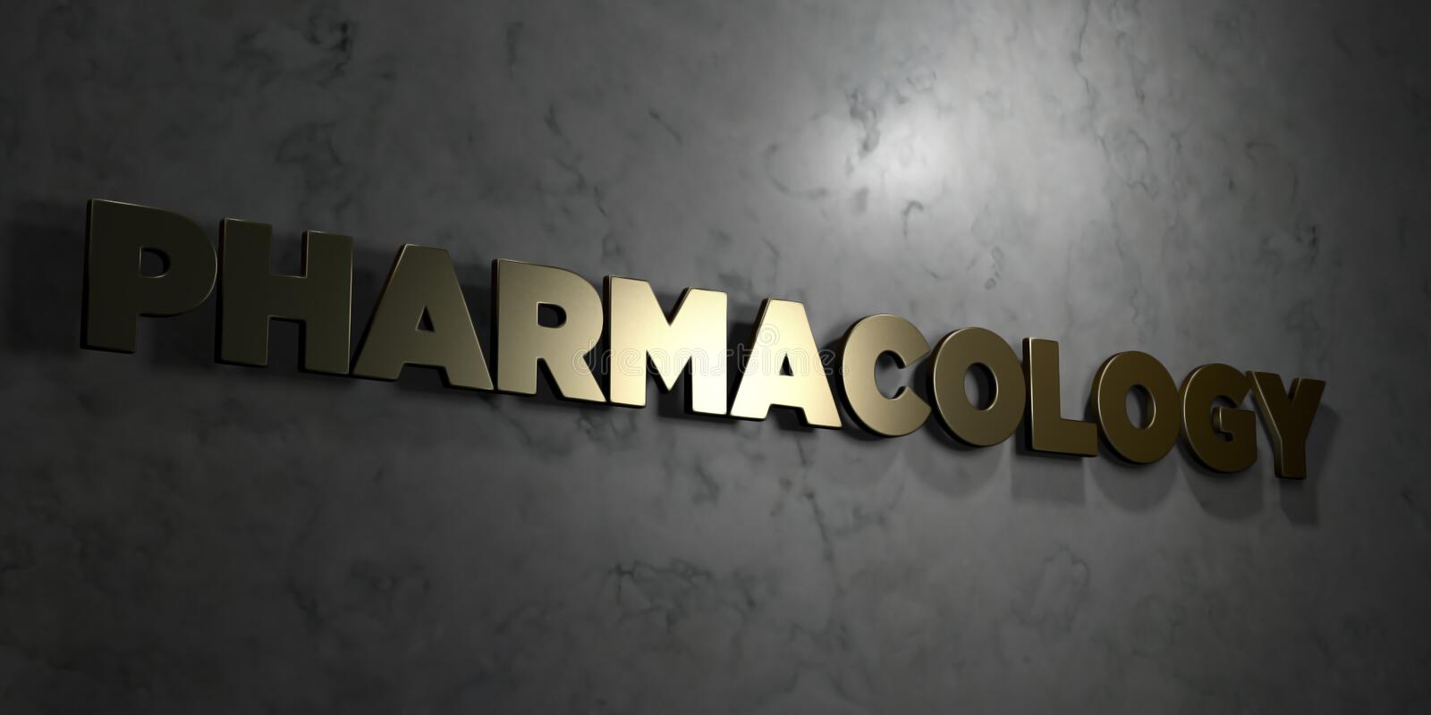 Pharmacology - Gold text on black background - 3D rendered royalty free stock picture. This image can be used for an online website banner ad or a print royalty free illustration