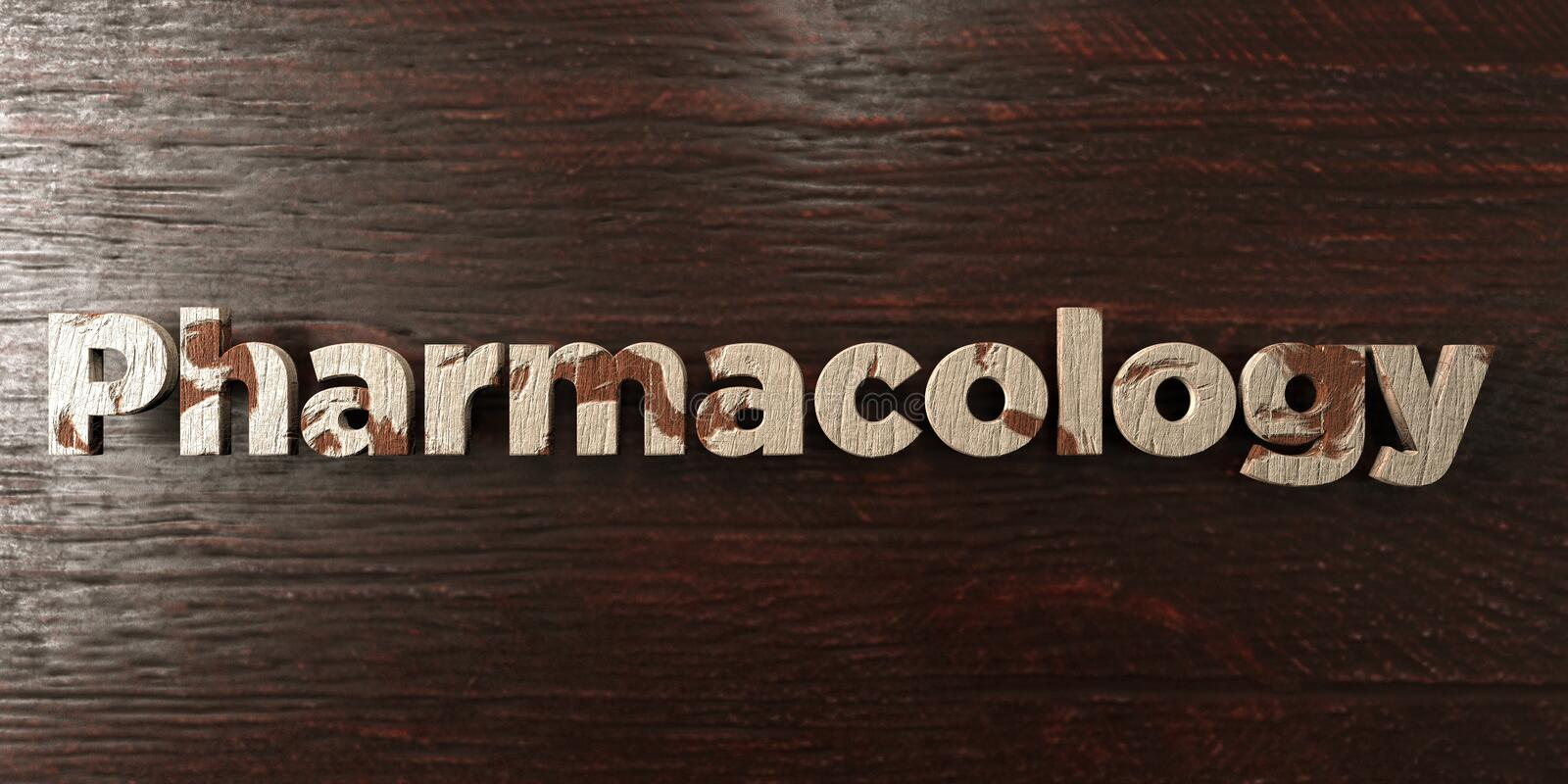 Pharmacology - grungy wooden headline on Maple - 3D rendered royalty free stock image. This image can be used for an online website banner ad or a print royalty free illustration