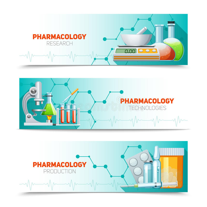 Pharmacology 3 Horizontal Banners Set. Pharmacology scientific research technologies and production 3 horizontal banners set with molecule structure abstract vector illustration