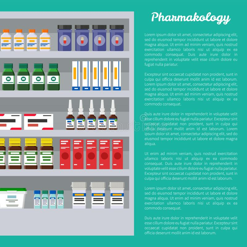 Pharmacology Poster and Text Vector Illustration. Pharmacology poster and text sample, medication products placed on shelves of refrigerator, storage vector illustration
