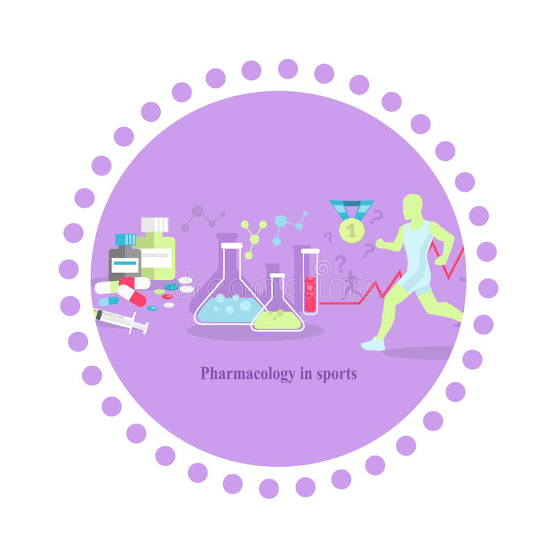 Pharmacology in Sport Icon Flat Isolated. Medical supplement, medicine tablet vitamin, health food capsule, amino acid, healthcare pharmacy, training and royalty free illustration