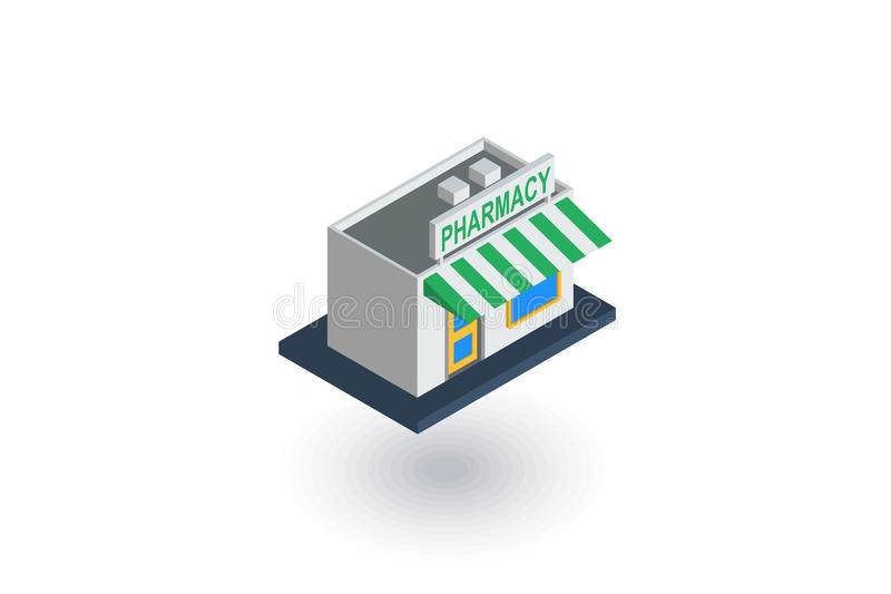 Pharmacy building isometric flat icon. 3d vector royalty free illustration