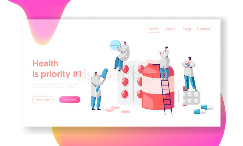 Pharmacy Business Medicine Drug Store Landing Page. Pharmacist Care for Patient. Pharmaceutical Science. Online Drugstore vector illustration
